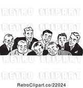 Vector Clip Art of Retro Border of Business Men Looking down by BestVector