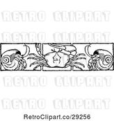 Vector Clip Art of Retro Border of Crabs and Hermits by Prawny Vintage