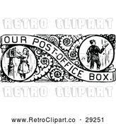 Vector Clip Art of Retro Border of Mail Boxes by Prawny Vintage