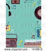 Vector Clip Art of Retro Border of Music Items on Turquoise by BNP Design Studio