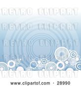 Vector Clip Art of Retro Border of White Circles Along the Bottom Edge of a Blue Background with a Faded Giant Circle by KJ Pargeter