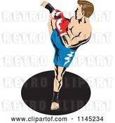 Vector Clip Art of Retro Boxer Fighter Kicking 2 by Patrimonio