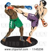 Vector Clip Art of Retro Boxer Fighter Kicking an Opponent 1 by Patrimonio