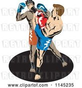 Vector Clip Art of Retro Boxer Fighter Kicking an Opponent 2 by Patrimonio