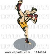 Vector Clip Art of Retro Boxer Fighter Kicking by Patrimonio