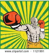 Vector Clip Art of Retro Boxer Jab Punching over Rays by Patrimonio