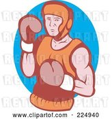 Vector Clip Art of Retro Boxer over a Blue Oval Logo by Patrimonio
