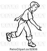 Vector Clip Art of Retro Boy After Releasing a Bowling Ball in by Picsburg
