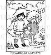 Vector Clip Art of Retro Boy and Girl Carrying a Basket by Prawny Vintage
