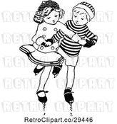 Vector Clip Art of Retro Boy and Girl Ice Skating by Prawny Vintage