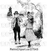 Vector Clip Art of Retro Boy and Girl near a Barn by Prawny Vintage