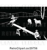 Vector Clip Art of Retro Boy and Girl on a See Saw by Sheep by Prawny Vintage
