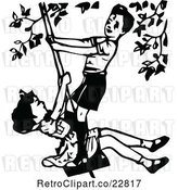 Vector Clip Art of Retro Boy and Girl Playing on a Swing by Prawny Vintage