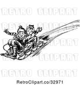 Vector Clip Art of Retro Boy and Girl Playing on a Winter Sled by Picsburg