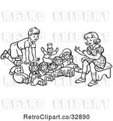 Vector Clip Art of Retro Boy and Girl Playing with Dolls in by Picsburg