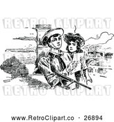 Vector Clip Art of Retro Boy and Girl Reading a Note by Prawny Vintage