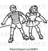 Vector Clip Art of Retro Boy and Girl Roller Skating in by Picsburg
