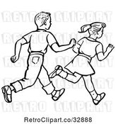 Vector Clip Art of Retro Boy and Girl Running in by Picsburg