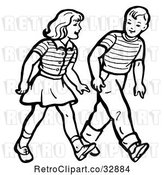 Vector Clip Art of Retro Boy and Girl Walking in by Picsburg