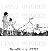 Vector Clip Art of Retro Boy and Girl Watching a Volcano by Prawny Vintage