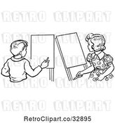 Vector Clip Art of Retro Boy and Girl with Art Easels in by Picsburg