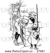 Vector Clip Art of Retro Boy and Girls Looking in a Well by Prawny Vintage