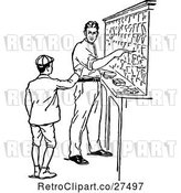 Vector Clip Art of Retro Boy and Guy in a Sorting Office by Prawny Vintage