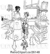 Vector Clip Art of Retro Boy and Mother with Dogs in a Kitchen by Prawny Vintage