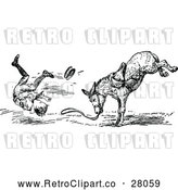 Vector Clip Art of Retro Boy Being Bucked from a Donkey 2 by Prawny Vintage