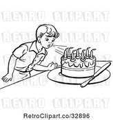 Vector Clip Art of Retro Boy Blowing out Birthday Cake Candles in by Picsburg