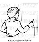 Vector Clip Art of Retro Boy by an Easel in by Picsburg