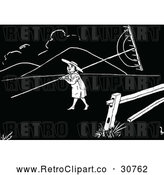 Vector Clip Art of Retro Boy Carrying a Plough Rake by Prawny Vintage