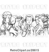 Vector Clip Art of Retro Boy Chatting with Girls by Prawny Vintage