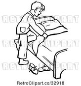 Vector Clip Art of Retro Boy Climbing into Bed in by Picsburg