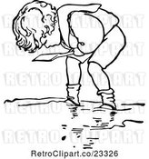 Vector Clip Art of Retro Boy Digging in Sand 2 by Prawny Vintage