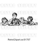 Vector Clip Art of Retro Boy Eating with His Siblings by Prawny Vintage
