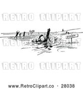 Vector Clip Art of Retro Boy Falling Through Ice by Prawny Vintage