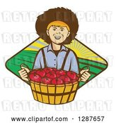 Vector Clip Art of Retro Boy Farmer Holding a Bushel of Tomatoes over a Farmland Diamond by Patrimonio