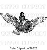 Vector Clip Art of Retro Boy Flying on an Owl by Prawny Vintage