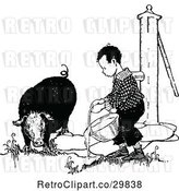 Vector Clip Art of Retro Boy Giving Water to a Pig by Prawny Vintage