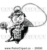 Vector Clip Art of Retro Boy Holding a Fan and Rose by Prawny Vintage