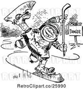 Vector Clip Art of Retro Boy Ice Skating by Prawny Vintage