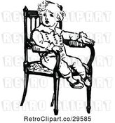 Vector Clip Art of Retro Boy in a Chair by Prawny Vintage
