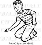 Vector Clip Art of Retro Boy Kneeling in by Picsburg