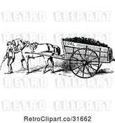Vector Clip Art of Retro Boy Leading a Horse Pulling a Coal Cart by Prawny Vintage