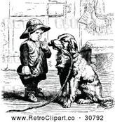 Vector Clip Art of Retro Boy Lecturing a Dog for Chewing by Prawny Vintage