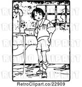 Vector Clip Art of Retro Boy Making a Mess by Prawny Vintage