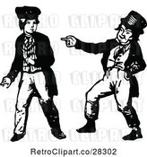 Vector Clip Art of Retro Boy Making Fun of Another Boy by Prawny Vintage