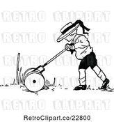 Vector Clip Art of Retro Boy Mowing a Lawn by Prawny Vintage