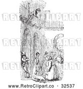 Vector Clip Art of Retro Boy over a Courtyard in Black and White by Picsburg
